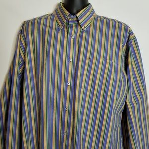 Tommy Hilfiger Men's Long Sleeve XL Blue Yellow